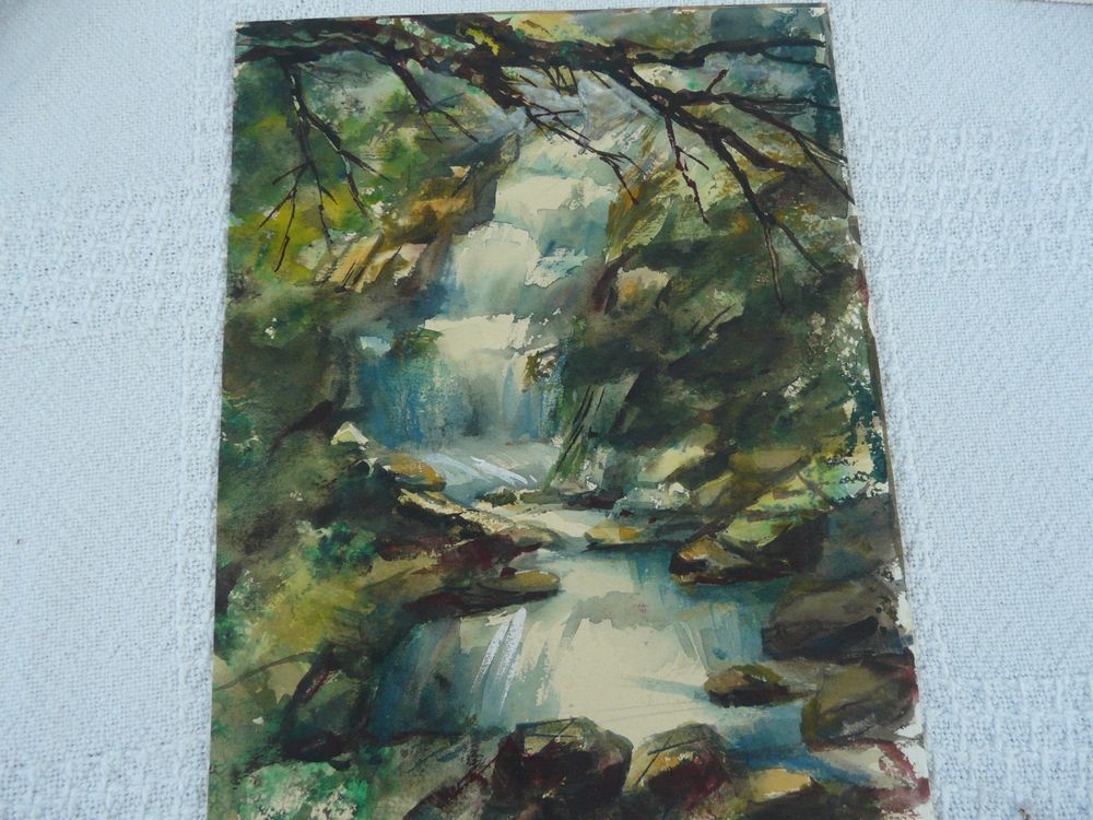 Lovely water fall mountain scene abstract original watercolor painting #Expressionism