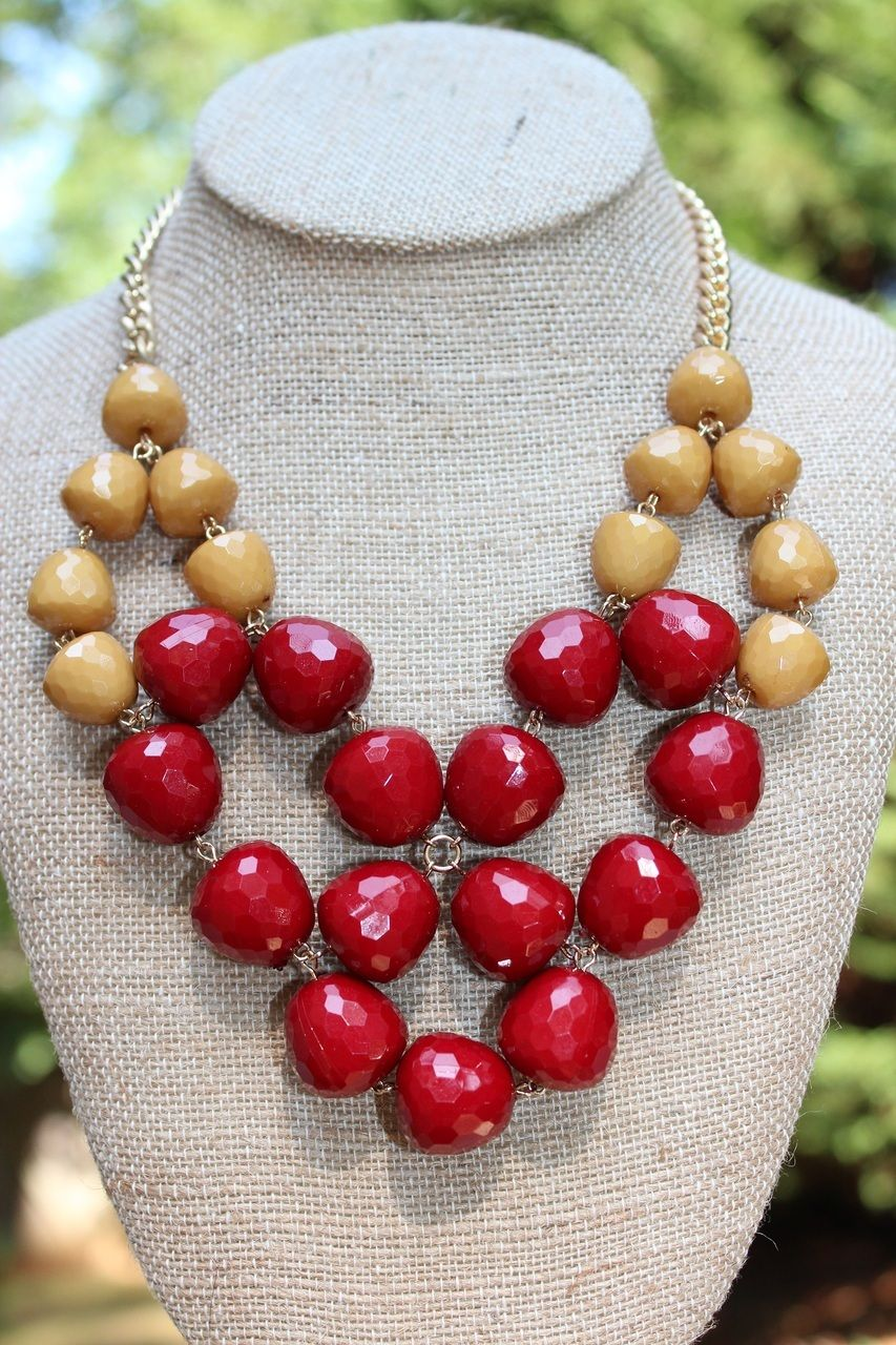 Peach Roots - GameDay Necklace- Garnet and Gold, $20.00 (http://peachroots.com/gameday-necklace-garnet-and-gold/)