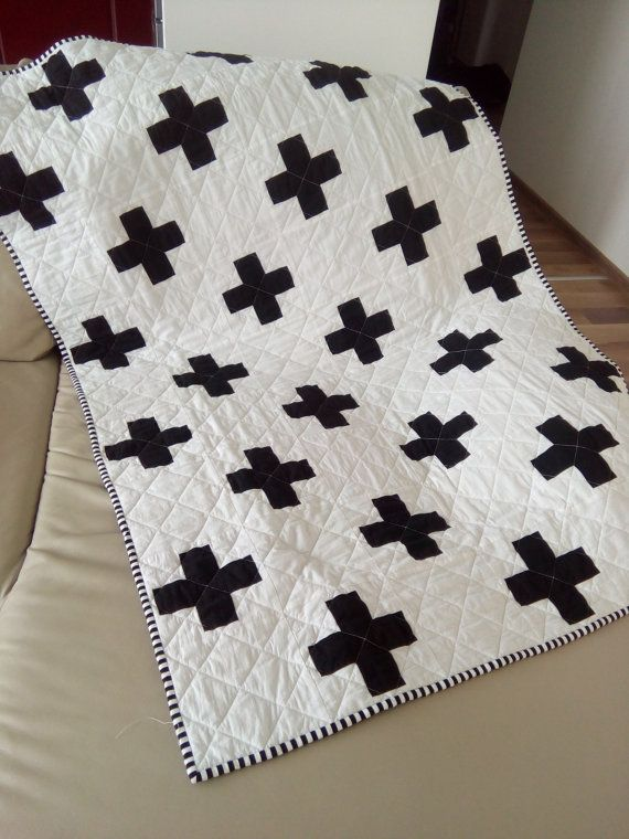 Plus Quilt Swiss Crosses Quilt Black By Hearttoheartquilts Cross Quilt Plus Quilt Traditional Quilt Patterns Black and white quilts for sale