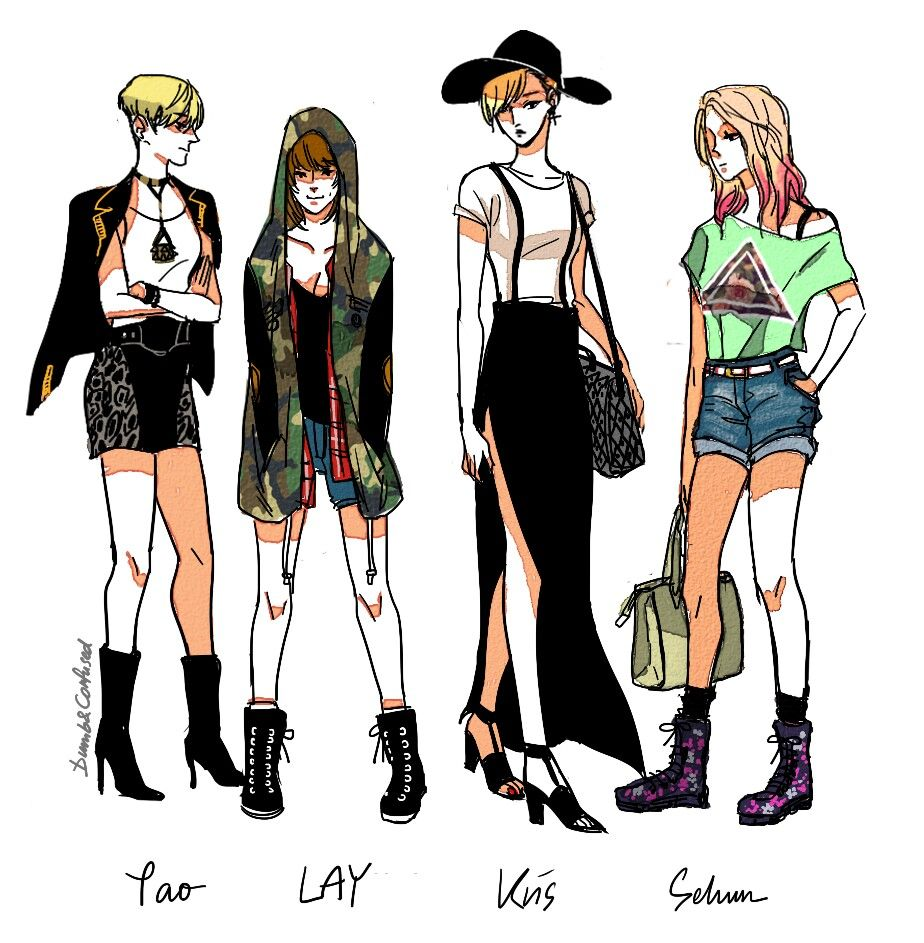 If EXO were girls fan art. Sehun and Kai were closest to ...