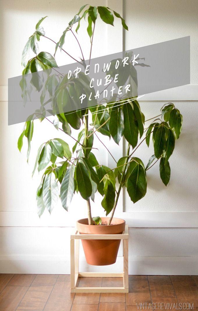 Modern Openwork Cube Planter DIY - Vintage Revivals