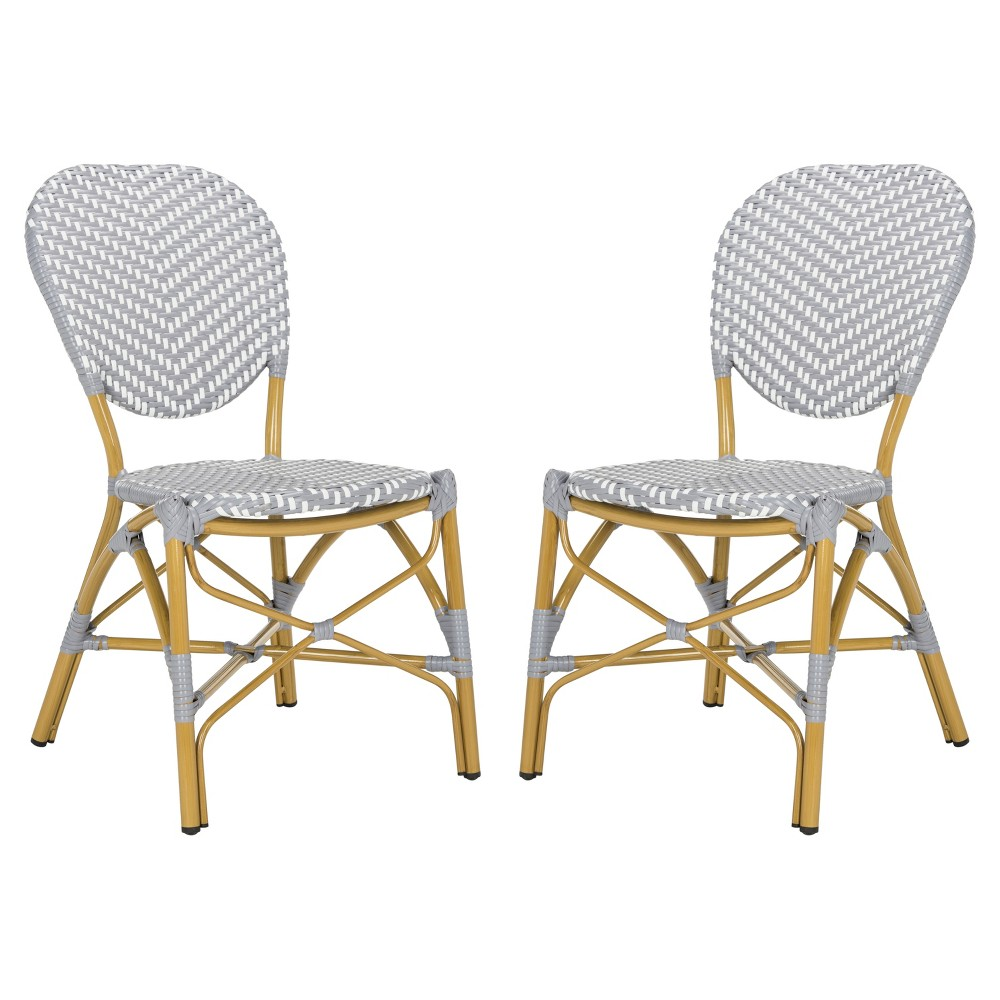 Lisbeth 2pk All Weather Wicker Patio Stackable Side Chair