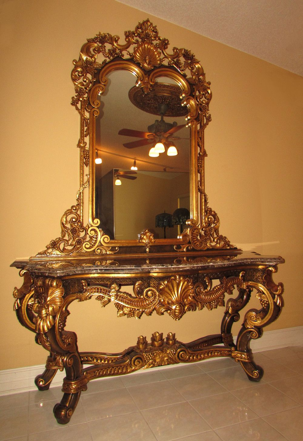 Rococo dining room google antique furniture pinterest french louis xv gilt finished marble top console table and mirror rococo baroque in home garden furniture tables geotapseo Images