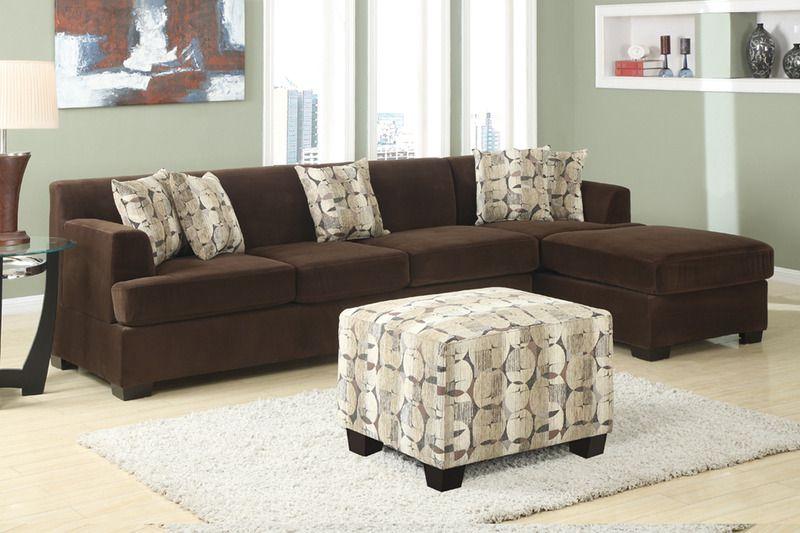 Modern Chocolate Velvet Sectional Sofa Reversible Chaise Living Room