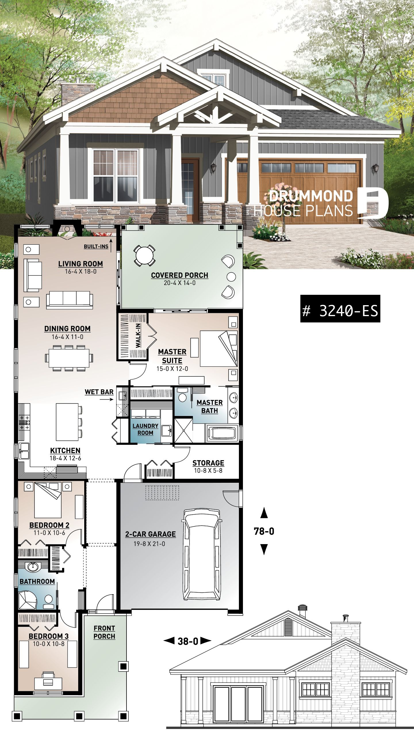 Plan 14655rk Craftsman House Plan With Two Large Porches Craftsman House Plan Craftsman House Plans Craftsman House