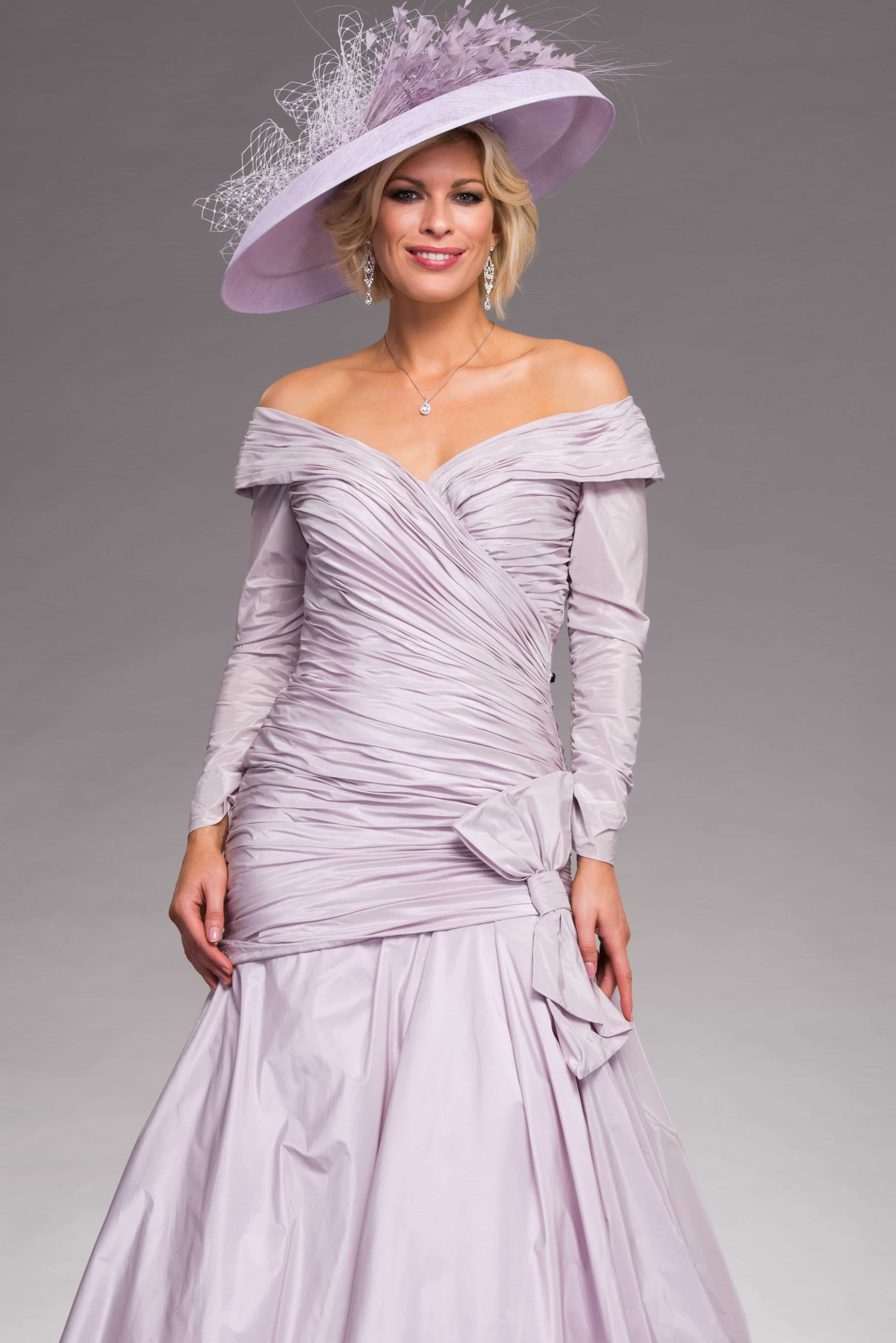 Amy's wedding dress  This full length dress features a ruched bodice that travels through