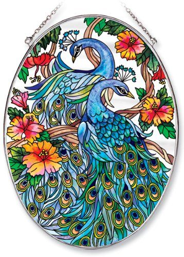 Amazonsmile Amia Oval Suncatcher With Peacock Design Hand Painted Glass 6 1 2 Inch By 9 Inch Amia Stained Vitrales Artesanales Pinturas Pajaros Y Flores