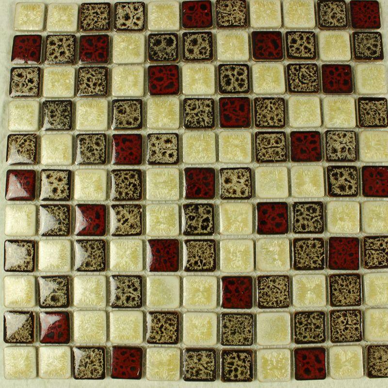 Gold Porcelain Tiles Bathroom Wall Backsplash Glazed: Italian Porcelain Square Mosaic Tiles Designs Glazed
