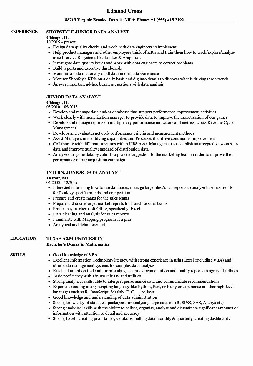 Business Analyst Intern Resume Awesome Junior Data Analyst Resume Samples