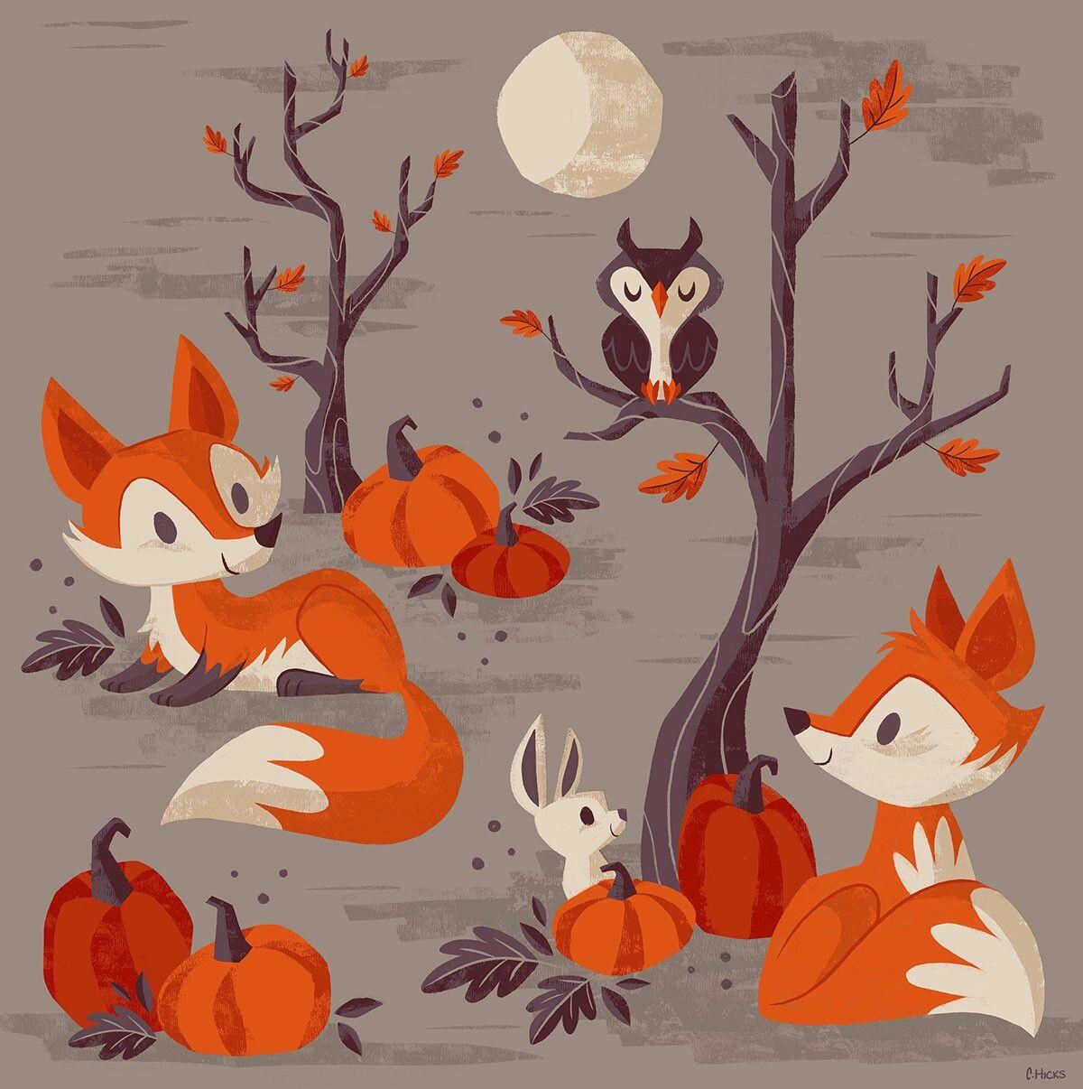 Fall wallpaper Fox art print, Fox art, Fall drawings