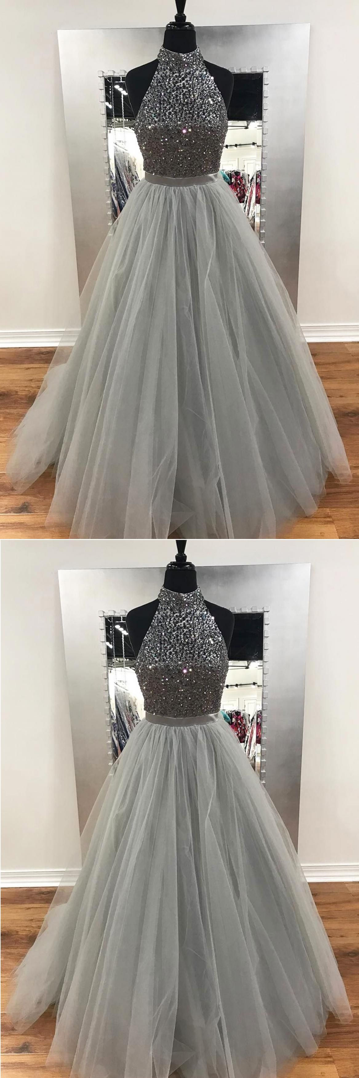 gray tulle long sliver sequins prom dresses long evening dress