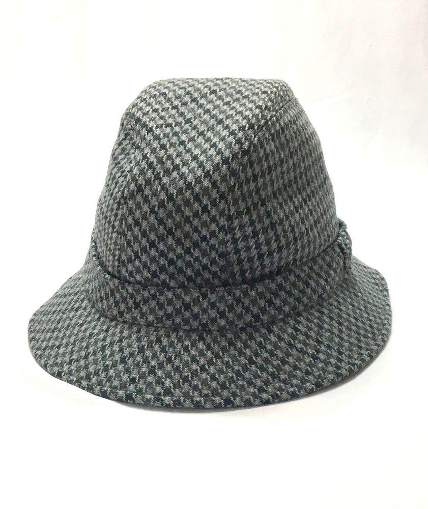 4a157e92 Kent Mens Medium M 100% Wool Houndstooth Blue Tweed Bucket Hat Made in Italy  #Kent #tweedhat