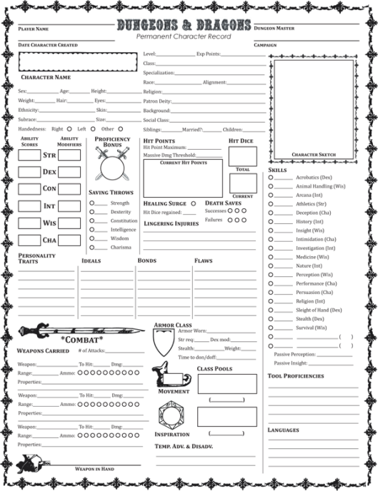 Fifth Edition Dungeons & Dragons Permanent Character Folder