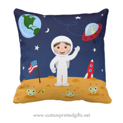 Space Throw Pillow Case Rocket Earth