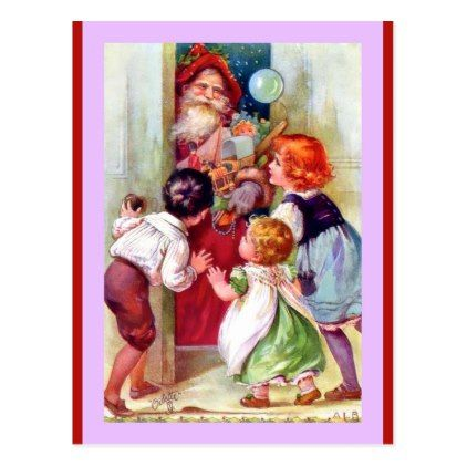 Vintage Santa and Children (a Tuck Oilette copy) Postcard - kids kid - copy children's abc coloring pages