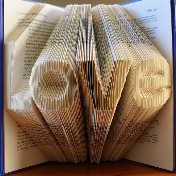 Paper Anniversary Love Folded Book Sculpture Book