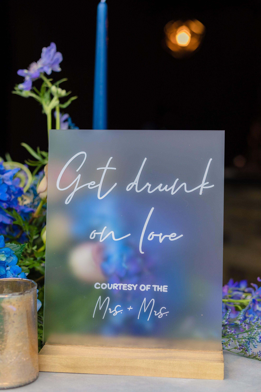 Frosted acrylic bar menu sign wedding bar menu bar menu