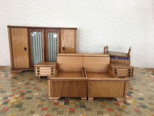 Alte-Puppenmoebel-Puppenstube-Puppenhaus-Schlafzimmer-40er ...