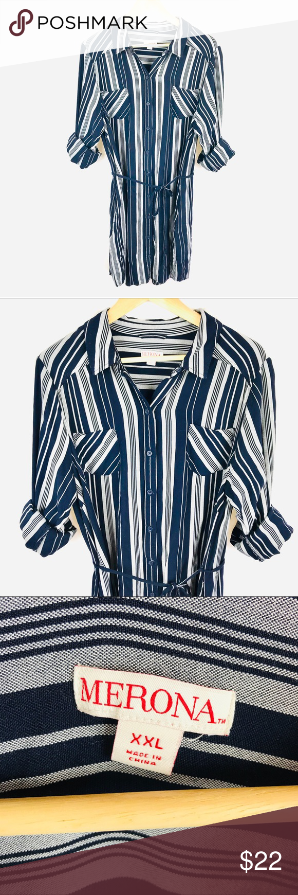 Merona Long Sleeve Button Down Shirt Dress Striped Excellent Used Condition 36 Length 23 Bust Measured Button Down Shirt Dress Striped Dress Clothes Design [ 1740 x 580 Pixel ]