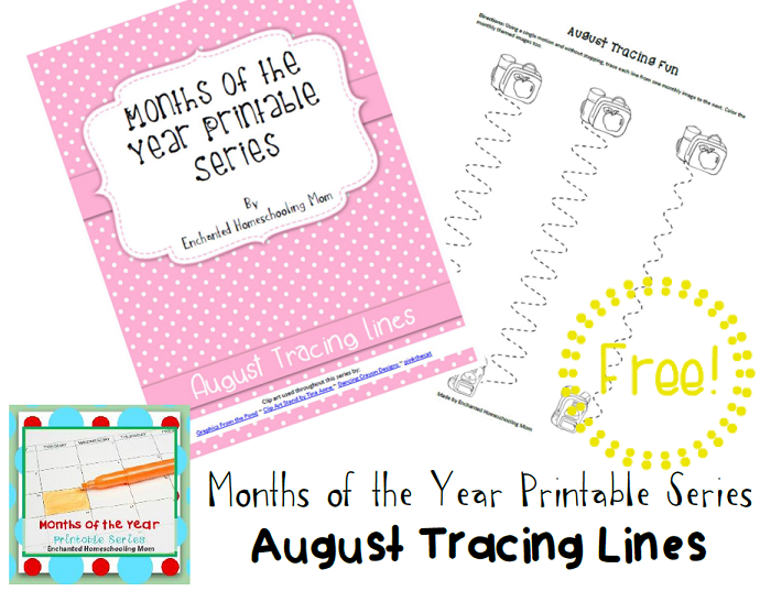 Months of the Year Printable Series FREE August Tracing Lines