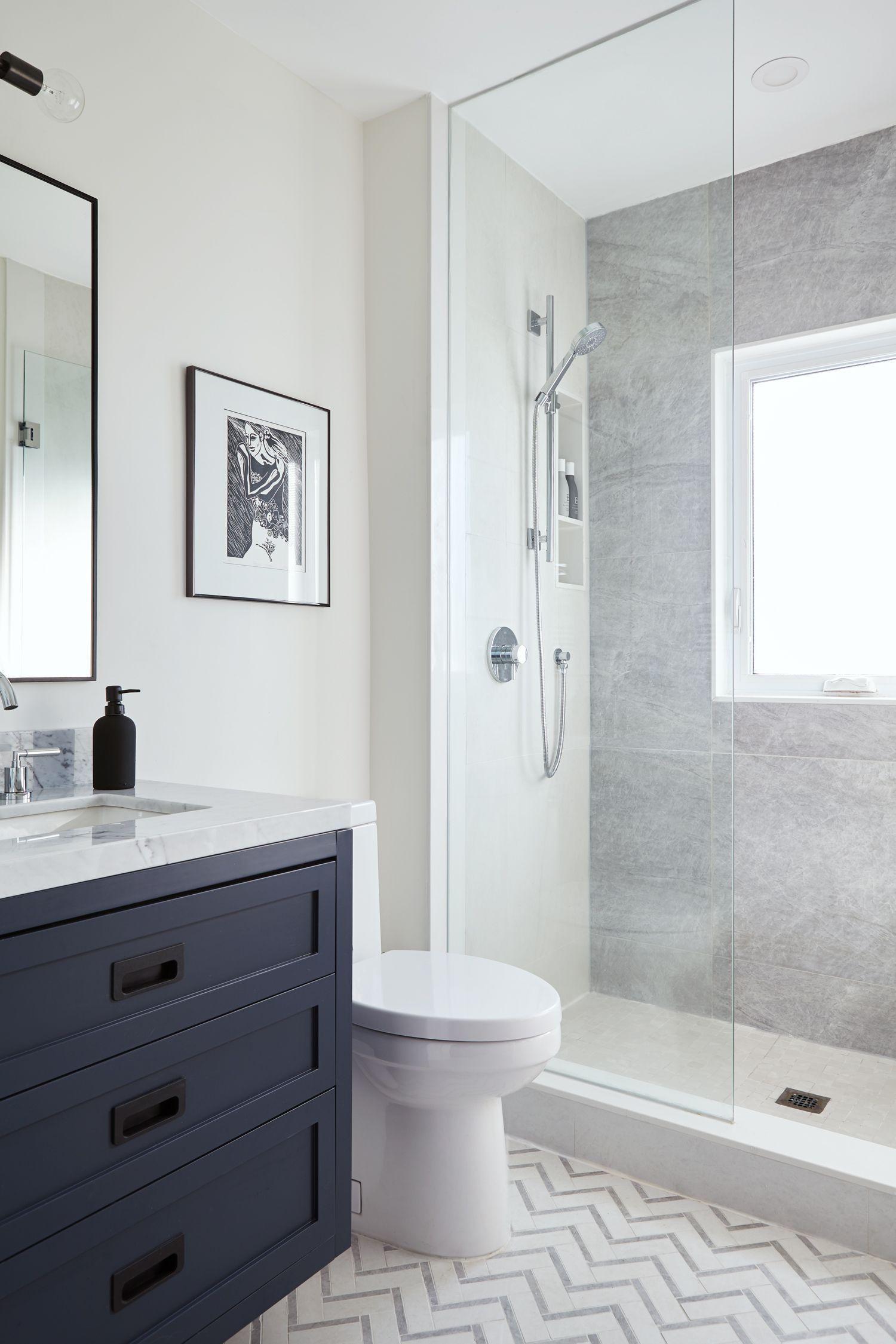 43 Best Inspiring RV Remodel Bathroom   Blue bathroom vanity, Small bathroom, Bathroom floor tiles