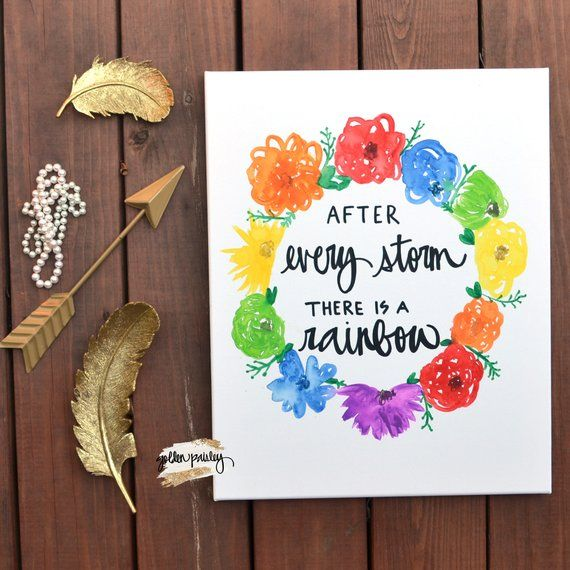 Rainbow Quote Floral Canvas Painting Wall Art Wall Hanging Quote On