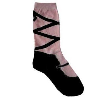 Ballet Point Slipper Dance Look Women's Novelty Socks. This pair of socks is ONE SIZE & made from a blend of cotton, nylon & spandex. Will fit most sizes up to size 10 shoe. Faux looking ballet slipper print. Comfortable and lightweight. Makes a great gift. Measures 14 inches long, open end to tip of toe, un-stretched. Sock opening is 3.5 inches side to side, un-stretched. Plenty of stretch for added comfort.