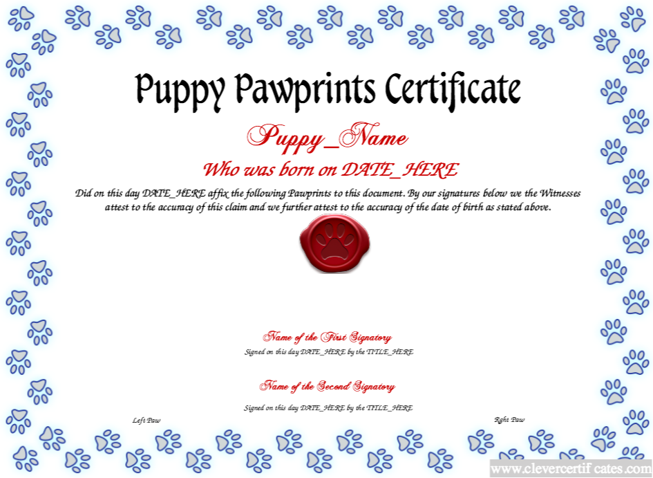 The puppy pawprints certificate template lets you create the puppy pawprints certificate template lets you create downloadable printable and shareable puppy pawprints certificate designs using our html5 designer yadclub Image collections