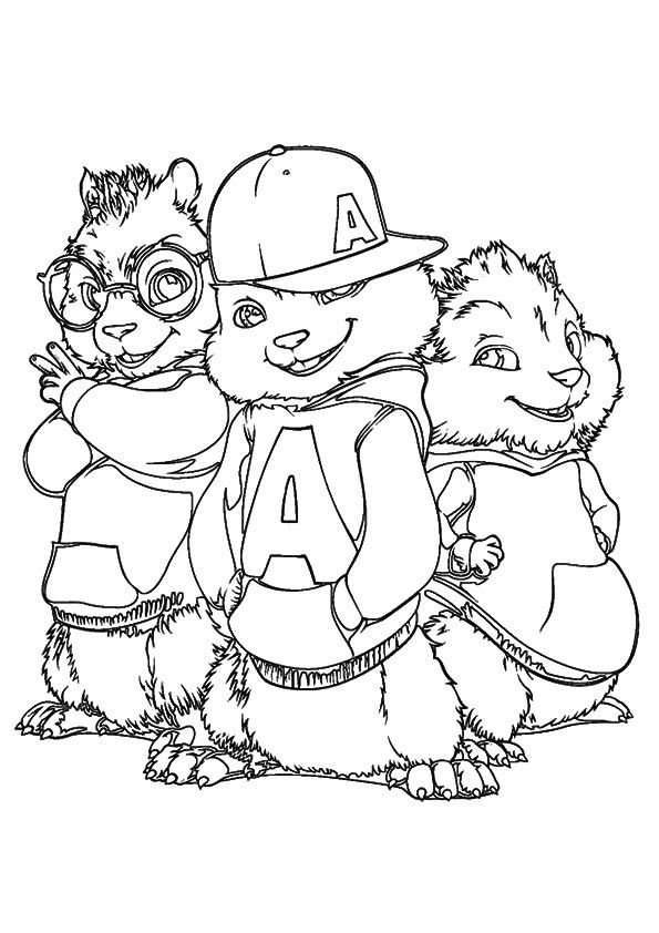 print coloring image | Chipmunks and Summer school