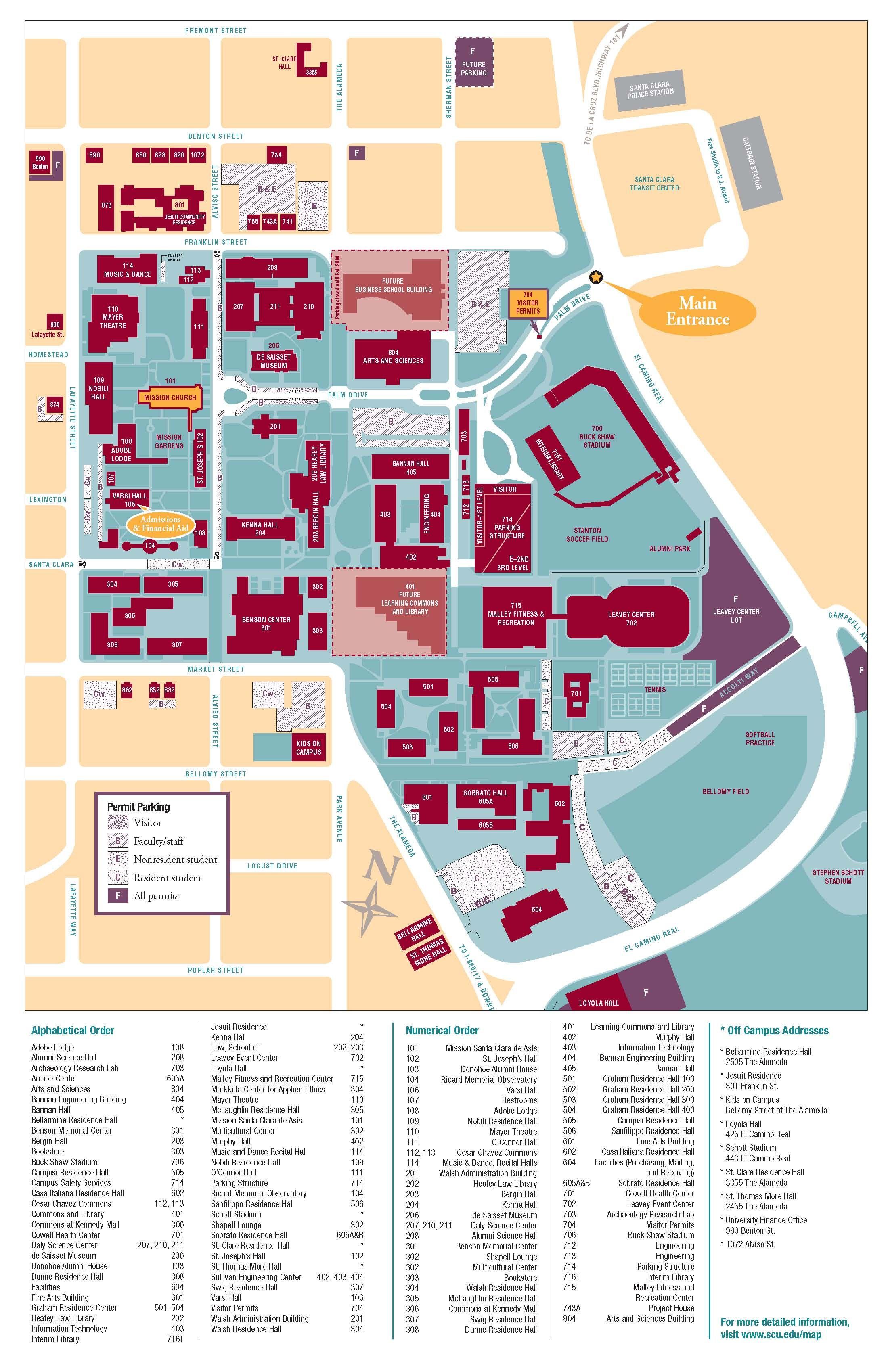 Campus Map Santa Clara University University Campus