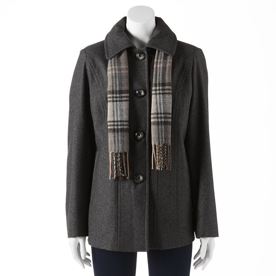 afc99d374c5b Croft   Barrow® Wool-Blend Peacoat in Charcoal Heather -Size Small NWT  Ladies