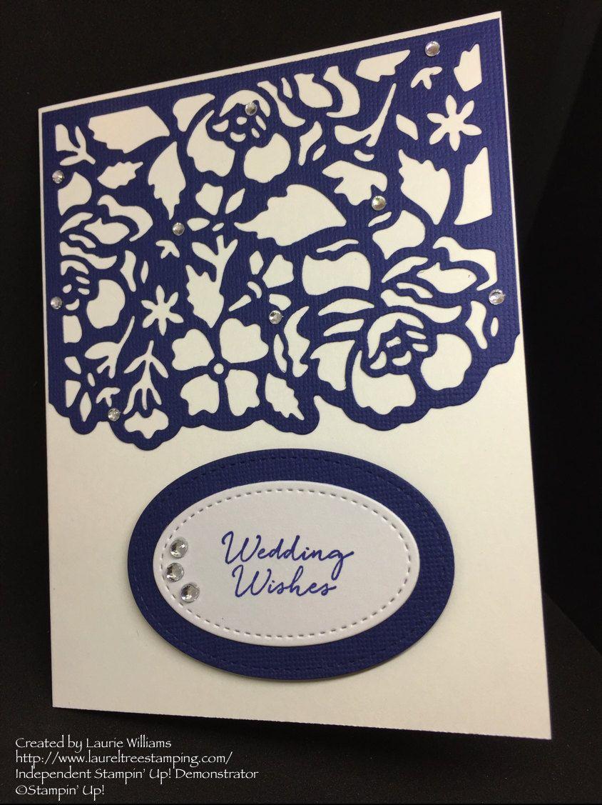 Wedding Card, Wedding Wishes, Navy Wedding Card, Fancy Handmade Card, Stampin' Up! Designs by LaurelTreeDesignCo on Etsy