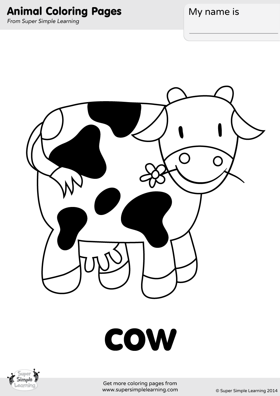 cow coloring pages baby farm animals