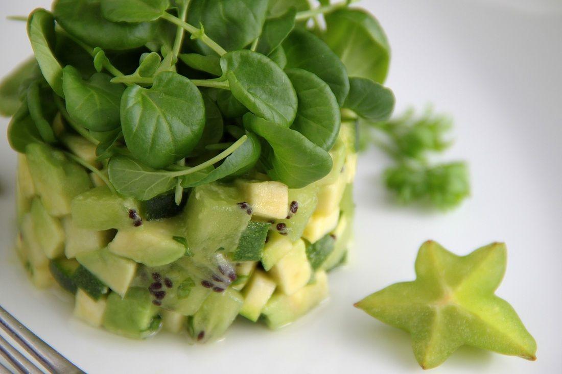 #vegan avocado kiwi watercress salad... and a silly ...