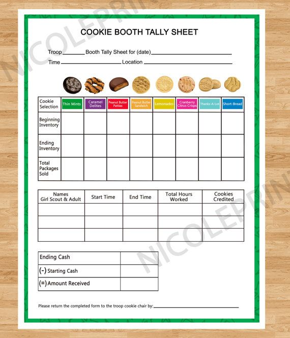 cookie booth tally sheet by nicoleprints on etsy girl
