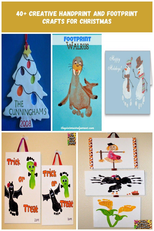 40+ Creative Handprint and Footprint Crafts for Christmas --> Finger Print Christmas Tree Salt Dough Ornaments footprint crafts 40+ Creative Handprint and Footprint Crafts for Christmas #saltdoughornaments