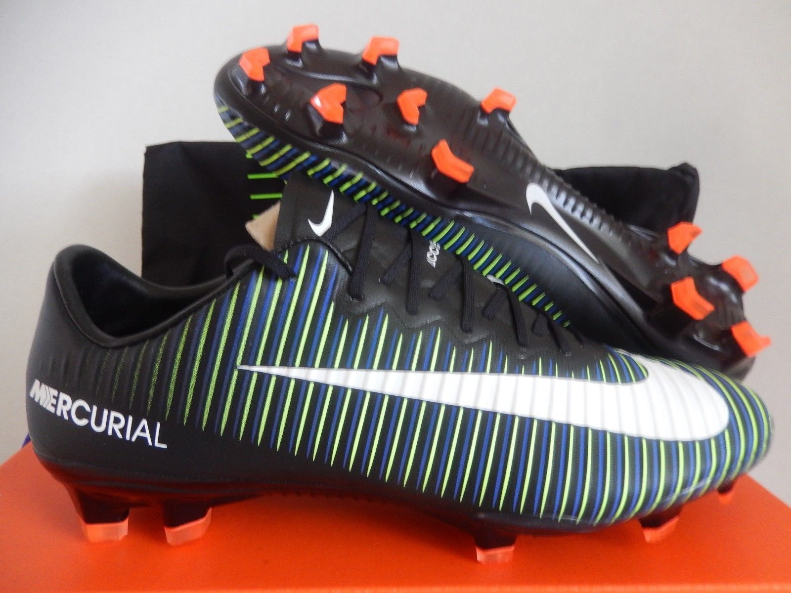 Nike Mercurial Vapor Xi Fg Black White Electric Green Sz 8 5 831958 013 Tenis