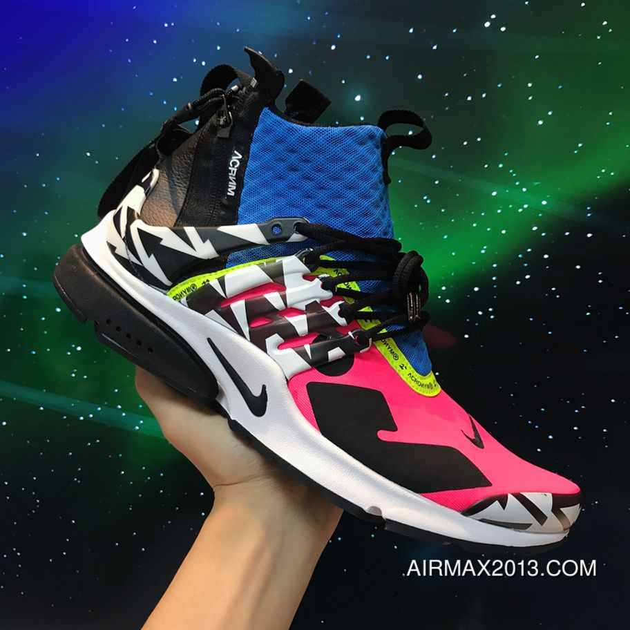 buy popular 07b9a 6cff4 2018 ACRONYM X NikeLab Air Presto Mid AH7832-600 Racer Pink Black Photo Blue  White Multicolor Running Shoes New Year Deals