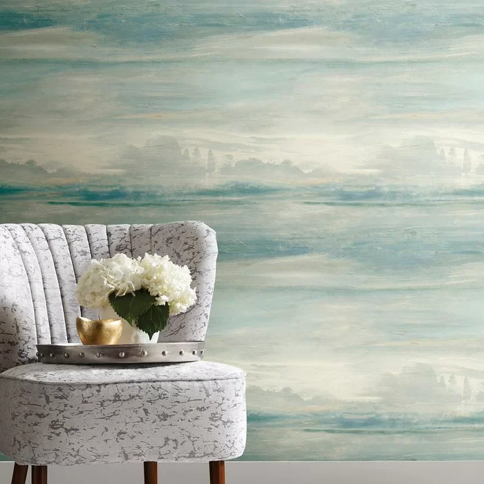 Candice Olson Soothing Mists Scenic 27 L X 27 W Wallpaper Roll In 2021 Scenic Wallpaper Peel And Stick Wallpaper Coastal Wallpaper