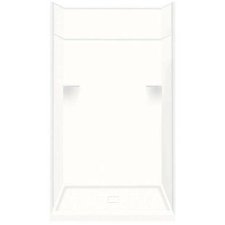 Transolid 34 inch x 48 inch x 99 inch Solid Surface Alcove Shower Kit with Extension, Available in Various Colors, White