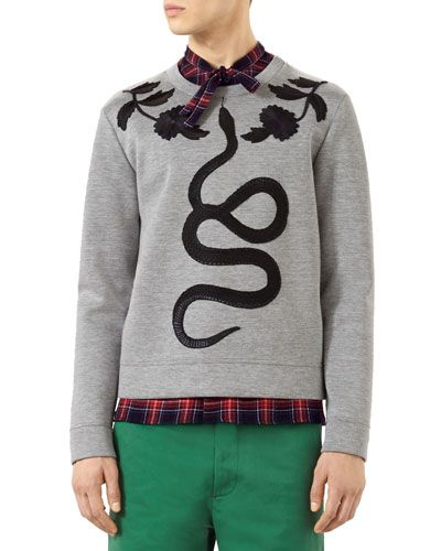 GUCCI Cotton Sweatshirt With Embroidered Snake, Gray. #gucci #cloth #