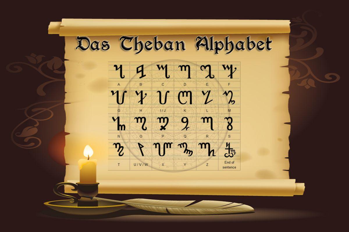 Die Theban Schrift Das Hexenalphabet Alphabet Hexen Hexenzeichen