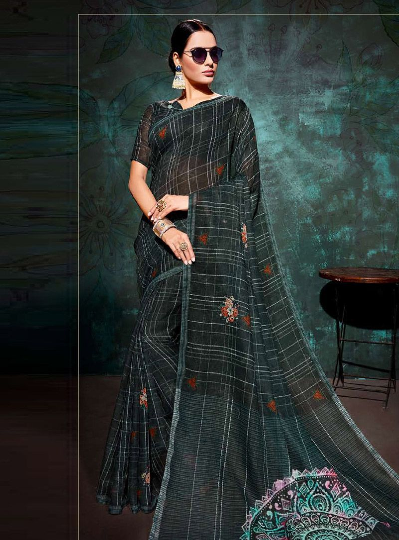3885cfd4e661cd Buy Dark Green Khadi Saree With Blouse 146713 with blouse online at lowest  price from vast collection of sarees at Indianclothstore.com.