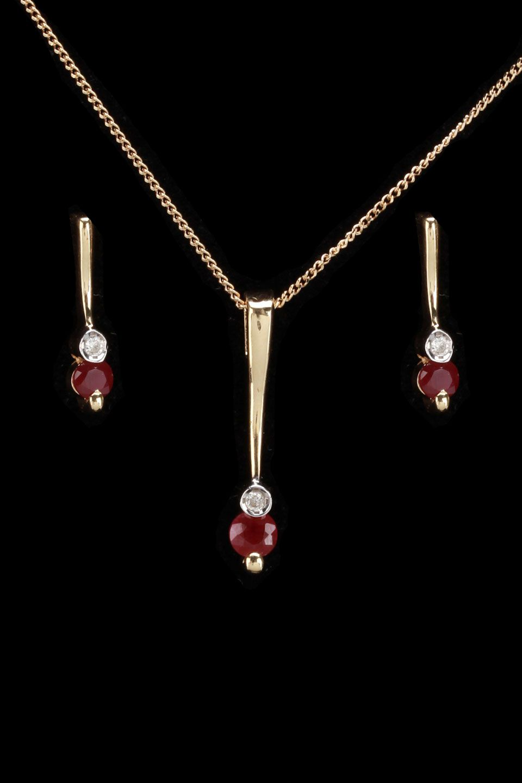 Gold blowout k gold diamond u ruby necklace u earrings set i