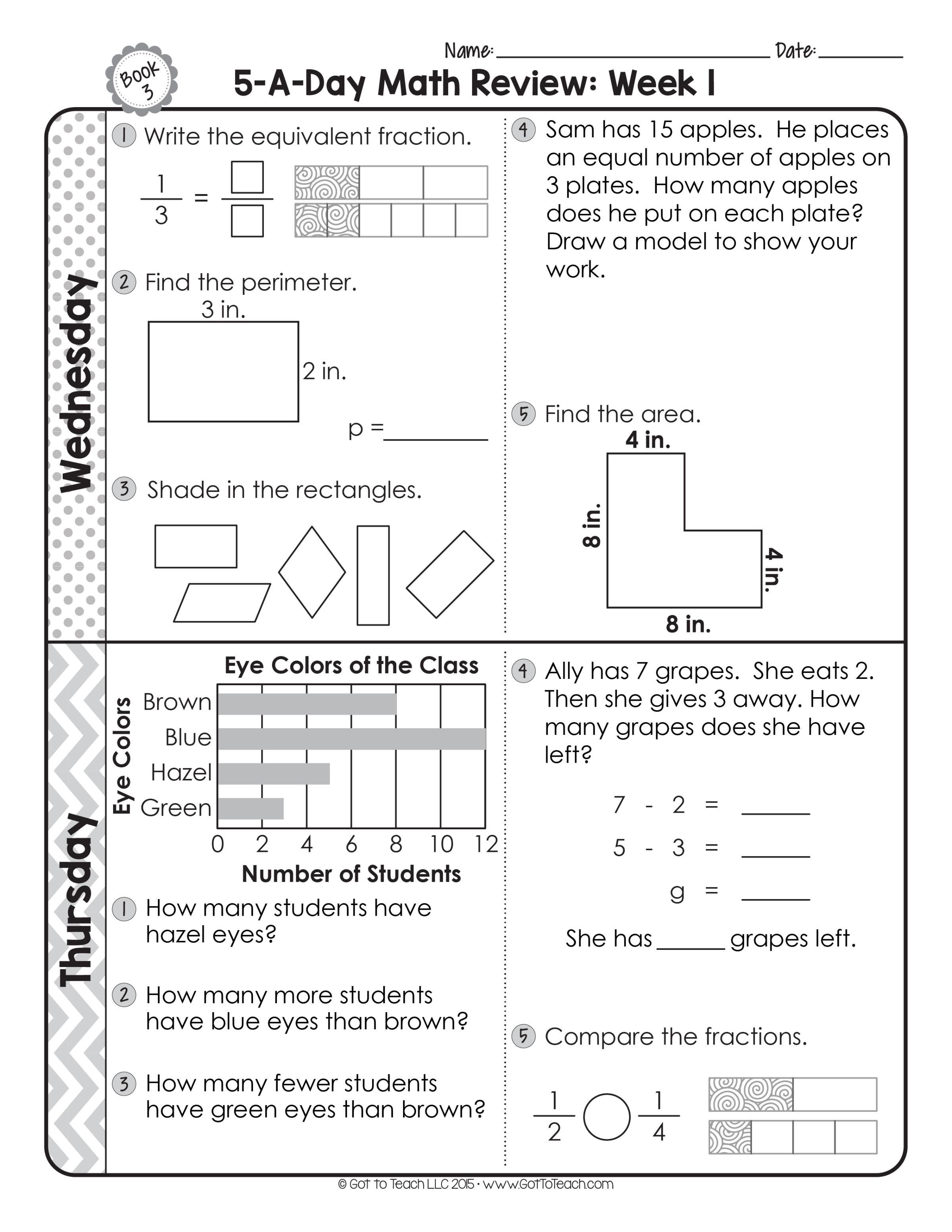 FREE 3rd Grade Daily Math Spiral Review Spiral math