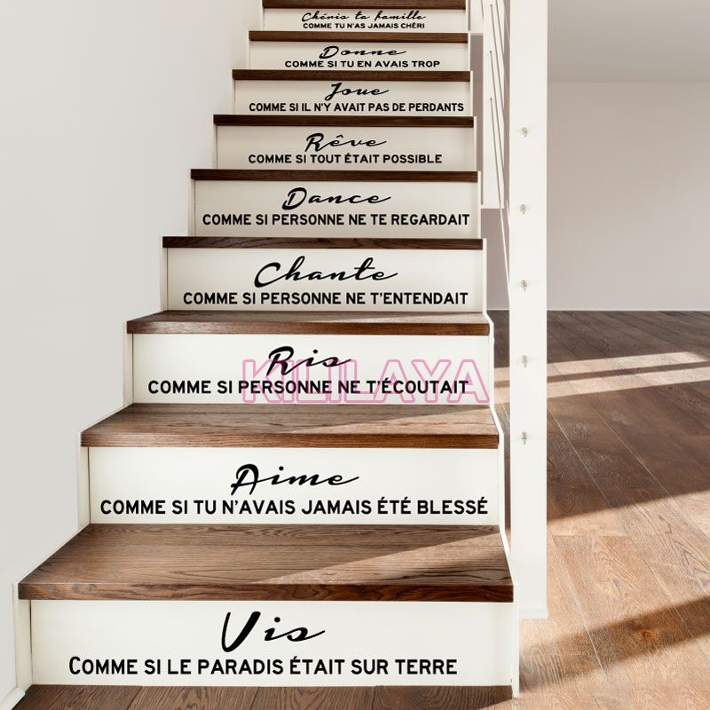 Pas cher escaliers autocollants stickers fran ais citation cheris ta famille de id es cage - Sticker pour contremarche escalier ...