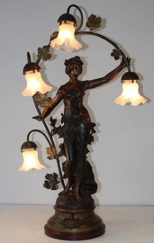 August Moreau Art Nouveau Table Lamp