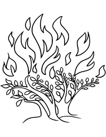 The Burning Bush coloring page from Moses category. Select