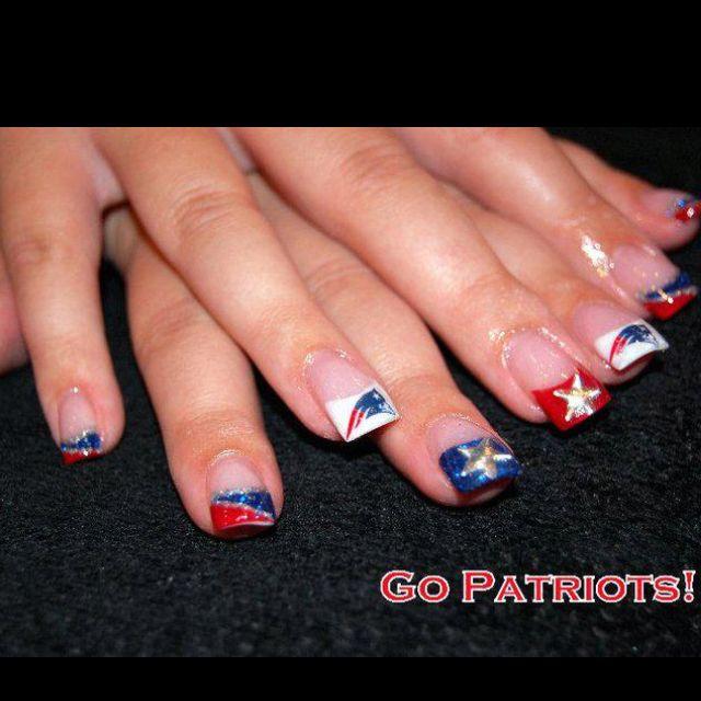 Go Patriots Patriots Nail Art Sports Nails Football Nails