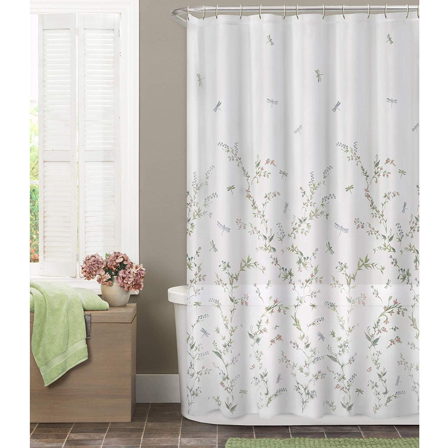 Maytex Dragonfly Garden Semi Sheer Fabric Shower Curtain With Images Fabric Shower Curtains Floral Shower Curtains Curtains